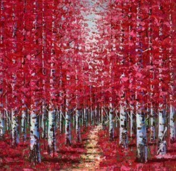 Ruby Woods I by Inam -  sized 24x24 inches. Available from Whitewall Galleries